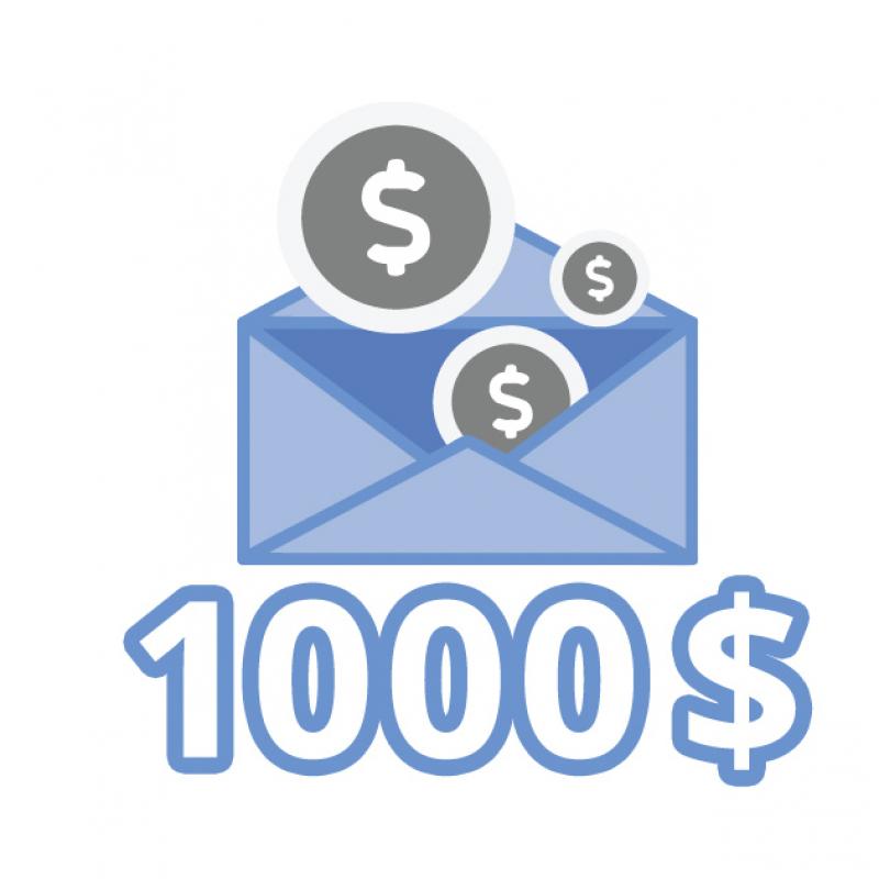 2e tirage de 1000$ en argent comptant